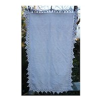 Linen Tablecloth With Heavy Cotton Crochet Edging