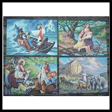 Bible Scenes Vintage Paint-by-Numbers Paintings Set of 4