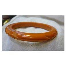 Carved Chevrons and Wave Deep Butterscotch Bakelite Bangle Bracelet