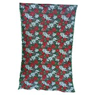 Red White Poinsettias Pine Cones Green Pom Pom Fringe Holiday Vintage 60's Christmas Tablecloth