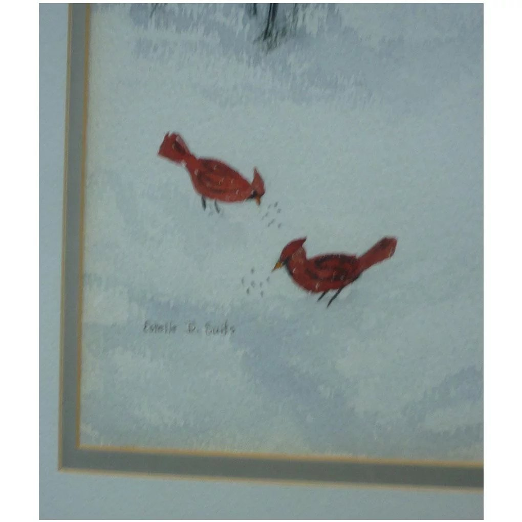 Cardinal Christmas Red Birds In Snow Watercolor Signed