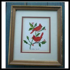 Cardinal Red Birds on Holly Branch Watercolor Signed Framed