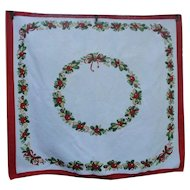 Wreath with Fruit Holly Red Bow Vintage Print Christmas Tablecloth