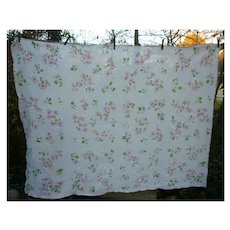 Pretty Pastel Floral Print Linen Tablecloth
