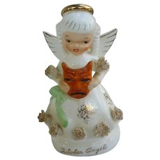 Vintage Napco Japan Ceramic October Angel Figurine with Spaghetti Trim and Halloween Mask