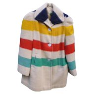Vintage Hudson's Bay Candy Stripe Point Wool Blanket Coat