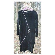 Vintage 1980s Cattiva by Maya Jornot Black Velvet Long Sleeved Maxi Dress