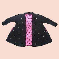 Black Velvet Swing Coat Rhinestones Pink Black Polka Dots Lining