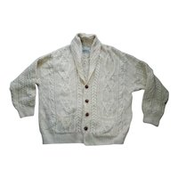 Arancrafts Irish Cable Knit Wool Cardigan Sweater