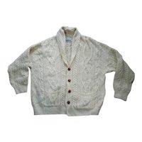 Arancrafts Irish Cable Knit Wool Cardigan Sweater