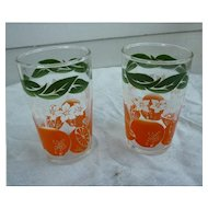 Pair Oranges and Orange Blossoms Swanky Swig Juice Glasses