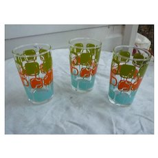 Set of 3 Colorful Abstract Swanky Swig Juice Glasses