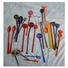 Vintage Plastic Hotel Restaurant Bar Souvenir Swizzle Sticks and Picks