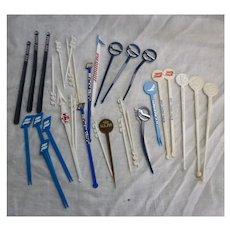 Vintage Plastic Travel Souvenir Swizzle Sticks and Picks
