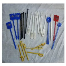 Vintage Plastic Maryland and DC Restaurant Bar Souvenir Swizzle Sticks and Picks