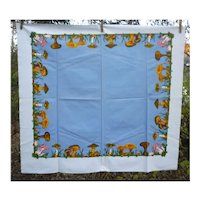 Colorful Mushrooms Border Blue Center Vintage Print Tablecloth