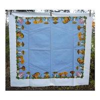 Colorful Mushrooms Border Blue Center Vintage Print Tablecloth
