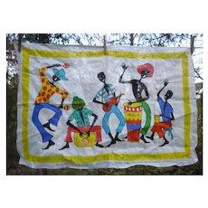 Jamaican Calypso Band Vintage Linen Dish Towel