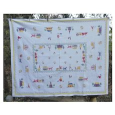 Colorful Old Fashioned Village Print Vintage Tablecloth