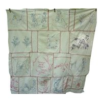 How Sweet Redwork Penny Square Embroidered Child's Coverlet
