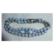 Beautiful Blue Milk Glass and Rhinestone Bracelet Signed Weiss