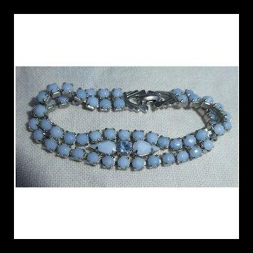 Beautiful Blue Milk Glass and Rhinestone Bracelet Signed Weiss