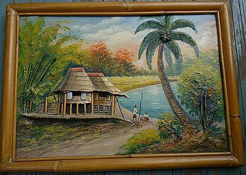 Pair Tropical Fishing Village 3 D Oil Paintings Bamboo