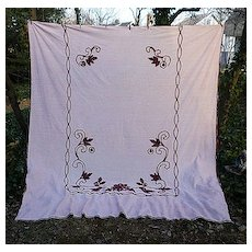 Pink with Burgundy Flowers and Scrolls Vintage Chenille Bedspread