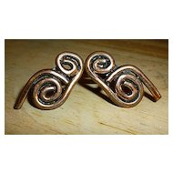 Modernist Copper Scrolls Screw Back Earrings