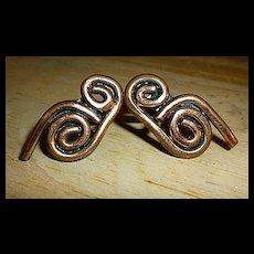 Modernist Copper Scrolls Screw Back Earrings