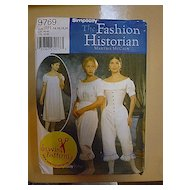 Civil War Martha McCain The Fashion Historian Simplicity 9769 Pattern Uncut