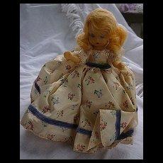 "Nancy Ann Storybook Doll Blond Floral Print Blue Ribbon Trim Dress 5 1/2"" HP"