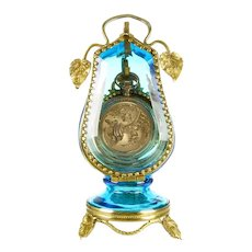 Antique Victorian Blue Glass & Ormolu Pocket Watch Holder Display Vitrine Box