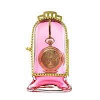 Antique Victorian Glass & Ormolu Pocket Watch Holder Display Vitrine Box