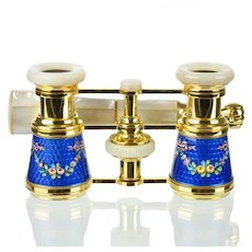 French Sapphire Blue Guilloche Enamel & Mother of Pearl Opera Glasses