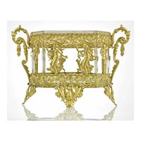 Antique French Empire Gilt Bronze Ormolu Crystal Jardiniere