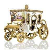 Viennese Austrian Enamel Miniature Carriage with Ormolu Mounts