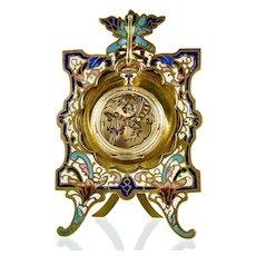 Antique French Champleve Enamel & Gilt Brass Pocket Watch Stand Holder