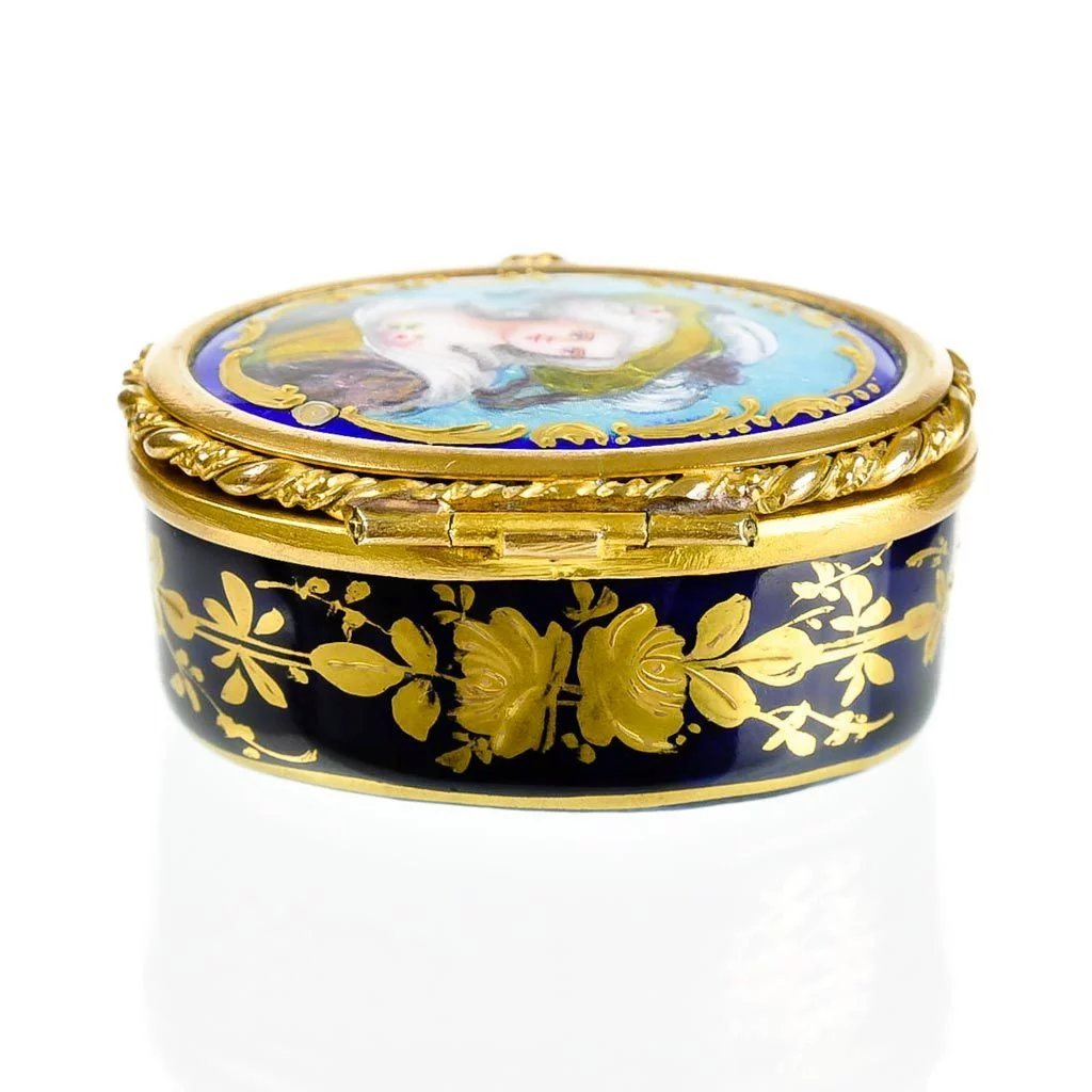 Antique French Limoges Enamel Amp Porcelain Patch Box With
