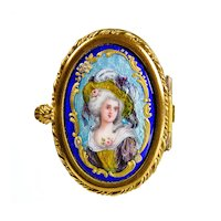 Antique French Limoges Enamel & Porcelain Patch Box with Miniature Portrait