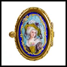 Antique French Limoges Enamel & Porcelain Patch Box with Miniature Portrait