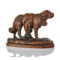 Antique Swiss Hand Carved Black Forest St. Bernard Dog