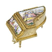 Antique Viennese Enamel & Bronze Ormolu Miniature Piano Jewel Casket