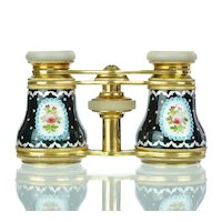 Antique French Enamel & Mother of Pearl Opera Glasses with Jeweled Beading