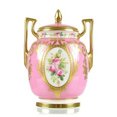 Minton Hand Painted Rose Pink Porcelain Vase with Raised Gold Gilding
