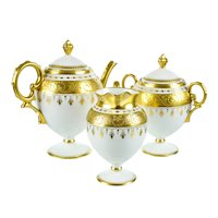 Antique Pickard Hand Painted Porcelain Tea Set with Raised Gold Gilding in Pristine Condition