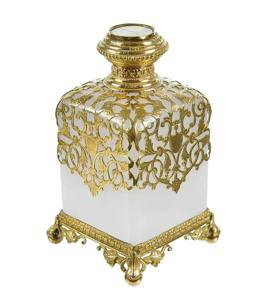 Classic Vintage French 55 Square Two Tier Brass Glass: Antique French White Opaline Glass & Dore Bronze Scent