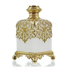 Antique French White Opaline Glass & Dore Bronze Scent Bottle