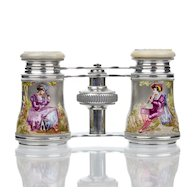 Antique French Enamel Figural Opera Glasses with Mother of Pearl - Audemair Paris
