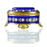 Antique French Enamel Cobalt Blue Jewelry Casket with Jeweled Beading & Gilt Bronze Mounts